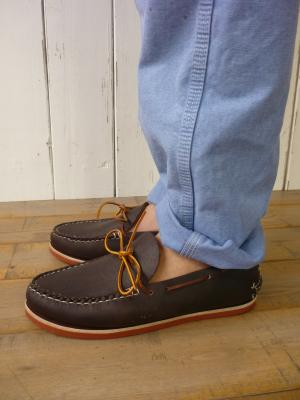 Single Sole CANOE MOCCASIN (BRICK COLOR SOLE)